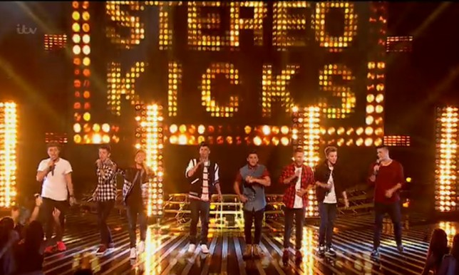 Eight piece boy band, Stereo Kicks perform of the first live show of the X-Factor.