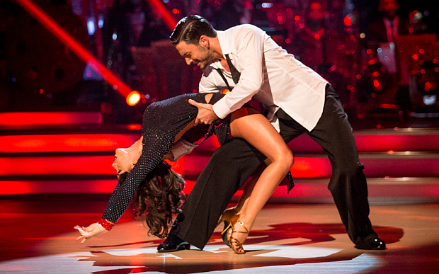 Georgia Foote gets dipped by Giovanni  Pernice on Strictly Come Dancing 2015.